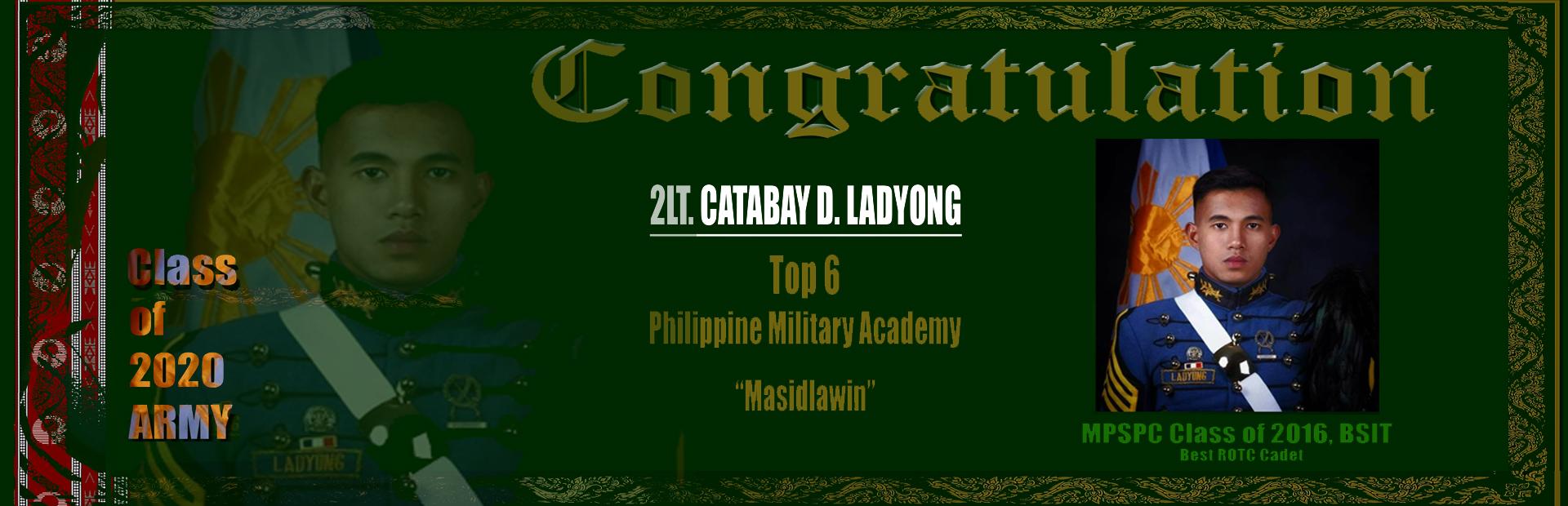 Congratulation - 2LT. CATABAY D. LADYON